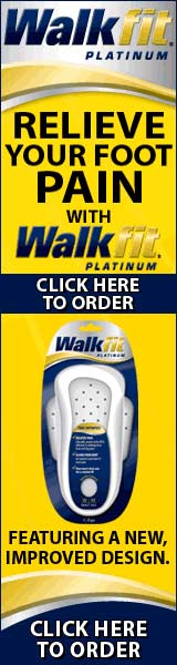 Relieve your foot pain with Walkfit Platinum. New improved design , for the same low price. We've added a unique gel pad to our Bio-Lock heel cup for advanced cushioning and shock absorption. So you get cushioning where you need it and firmness where you need it!  Click here for more information!
