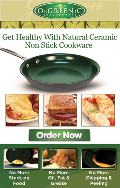 Get healthy with natural ceramic non-stick cookware. It's super non-stick surface is a patented natural ceramic material that requires little or no oil, butter or grease to cook your food just right. No more stuck food or chipping and peeling. Get a nine inch frying pan for just $19.99. Click here to learn more...