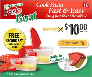Pasta Boat - Microwave Cooking Pasta Noodles Fast & Easy Cook, Strain & Serve Perfect Pasta Using Just Your Microwave!  Click here...